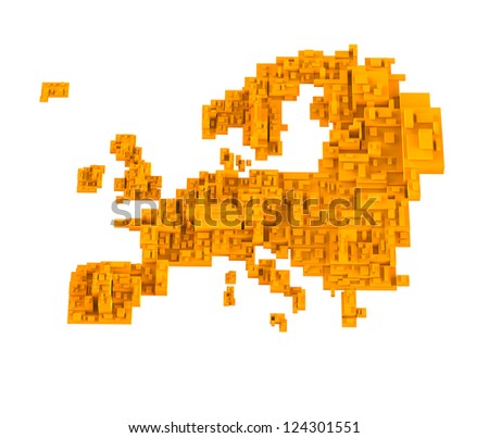 Abstract cube map of europe continent - stock photo