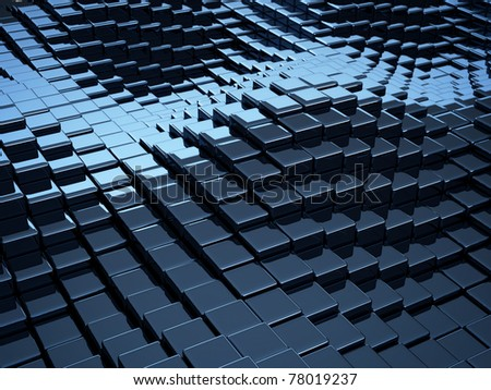 abstract cube wave pattern - stock photo