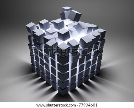 abstract cubes - stock photo
