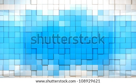 abstract cubes background in blue toned - stock photo