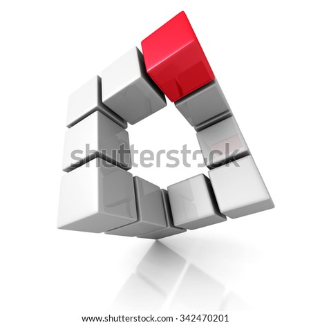 Abstract Cubes Construction With Different Red One. 3d Render Illustration - stock photo