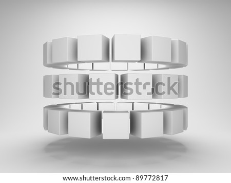 Abstract cubes in a row - stock photo
