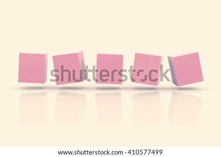 Abstract cubes in a row .3D illustration