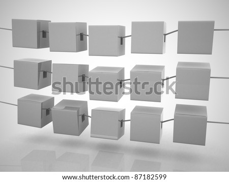 Abstract cubes in a row. This is 3d illustration
