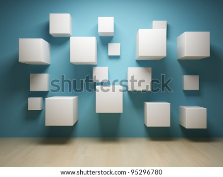 Abstract cubes in interior - stock photo