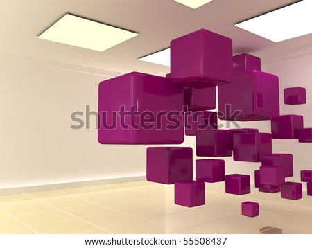 abstract cubes in the room 1 - stock photo