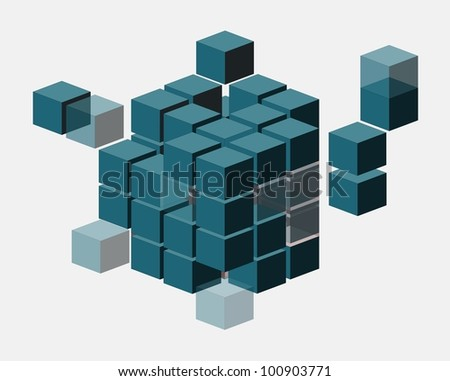 Abstract Cubes isolated on white. Management or corporate leadership concept