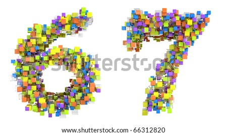 Abstract cubic font 6 and 7 figures isolated over white