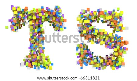 Abstract cubic font T and S letters isolated over white - stock photo
