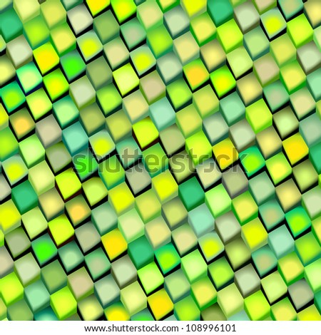 abstract cubical multiple green yellow pattern backdrop - stock photo