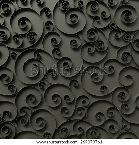abstract curly background, 3d quilling ribbons, black spiral lines ornament - stock photo
