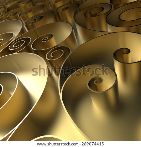 abstract curly background, 3d quilling ribbons, gold spiral lines ornament - stock photo