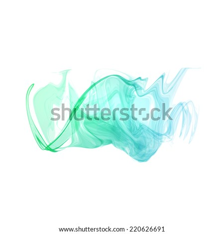 Abstract cyan green digital watercolor ink, virtual technology splash paint isolated on white background - stock photo