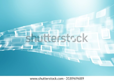 Abstract cyberspace rectangle and square bokeh stream cloud computer on blue background.  - stock photo