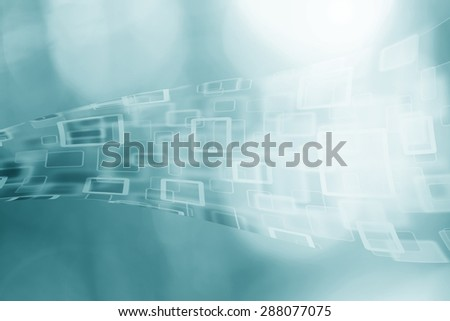 Abstract cyberspace rectangle and square bokeh stream cloud computer on blurred blue illustration background.  - stock photo