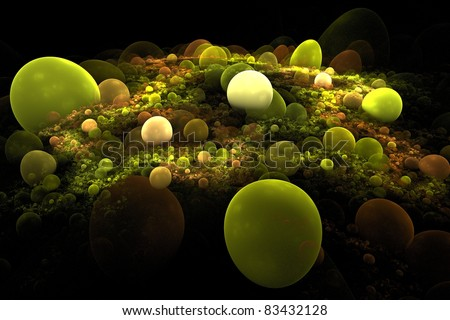 Abstract 3D a background from multi-colored full-spheres of the various form - stock photo