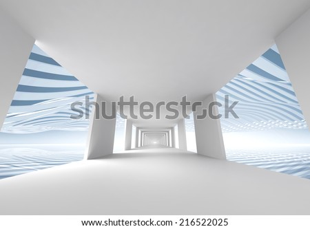 Abstract 3d architecture background, empty white corridor - stock photo