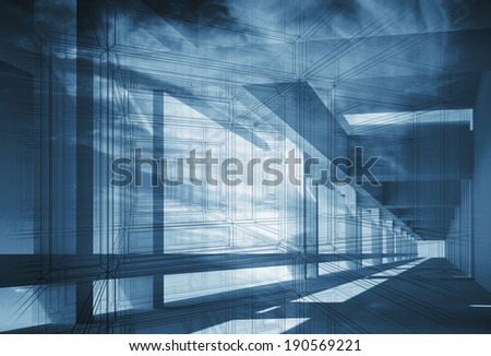 Abstract 3d architecture background with perspective view of blue interior - stock photo