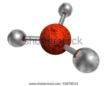 abstract 3d atom isolated on white