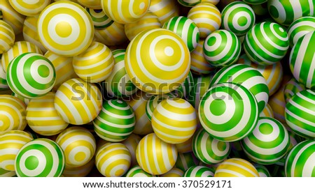 Abstract 3d background with multi-colored balls of yellow and green