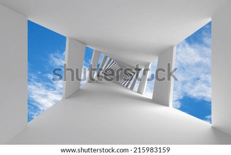 Abstract 3d background with twisted corridor and sky - stock photo