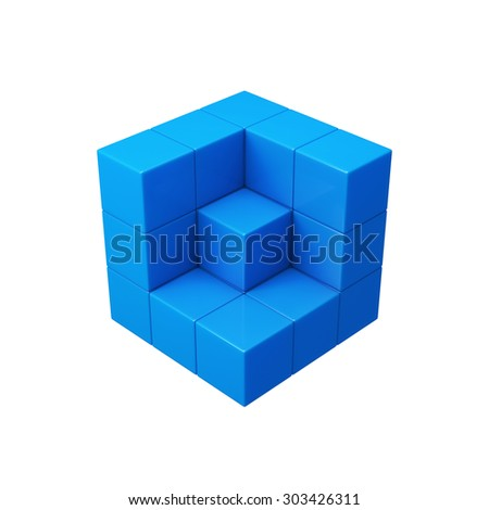 Abstract 3d blue cubes illustration. Isolated on white