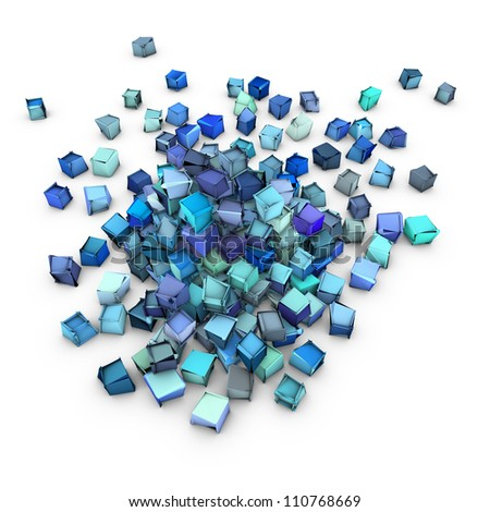 abstract 3d blue cubic shape on white - stock photo