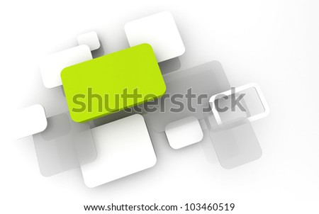 Abstract 3D box render Background Technology Green Color bubble for Text - stock photo