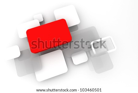 Abstract 3D box render Background Technology red Color bubble for Text