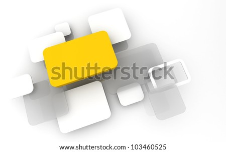 Abstract 3D box render Background Technology yellow Color bubble for Text - stock photo