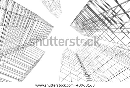 Abstract 3D city - stock photo