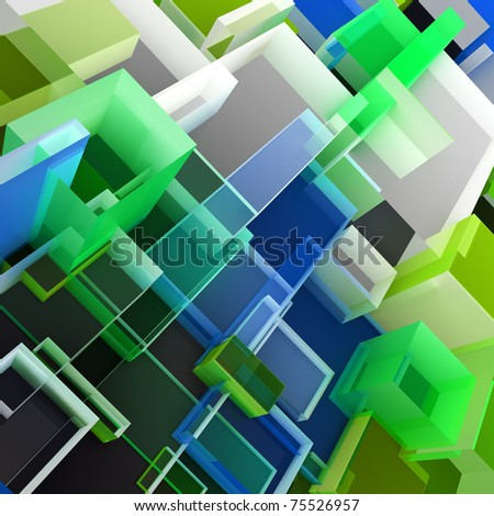 Abstract 3D cloud of color transparent cubes