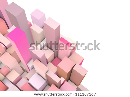 abstract 3d composition with pink rectangular shapes on white - stock photo