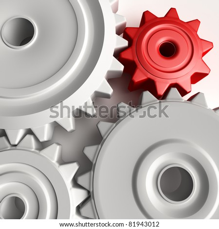 Abstract 3D concept of gear wheels
