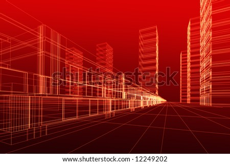 Abstract 3D constructions on red - stock photo