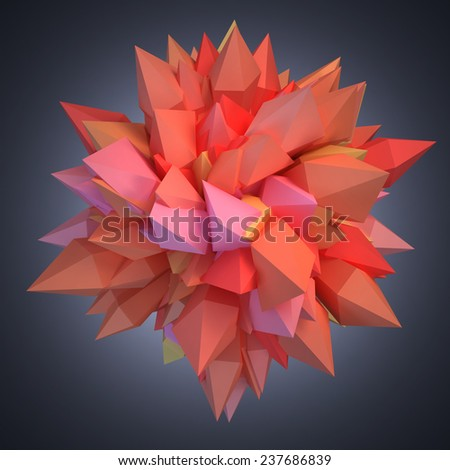 Abstract 3D crystal on gradient background - stock photo