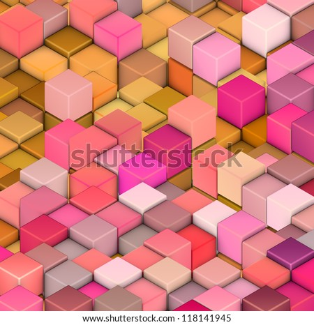 abstract 3d cube shape backdrop in pink yellow orange - stock photo