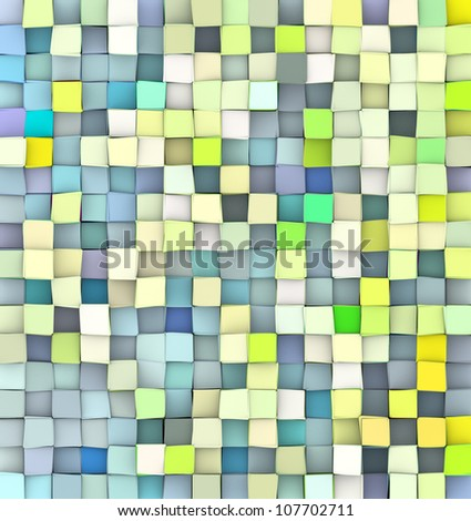 abstract 3d cubes backdrop in green yellow and blue - stock photo