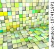 abstract 3d cubes backdrop in yellow and green - stock photo