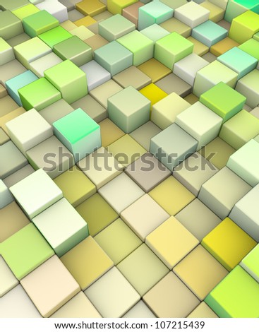 abstract 3d cubes backdrop in yellow green - stock photo