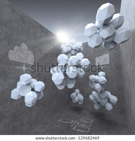 abstract 3d design for cloud networking computer concept - stock photo