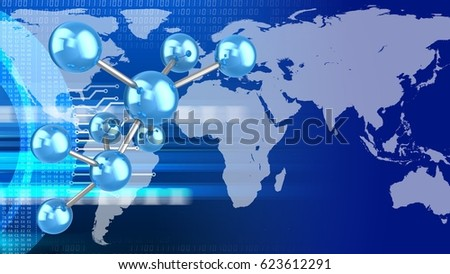 abstract 3d digital background with molecule model and earth
