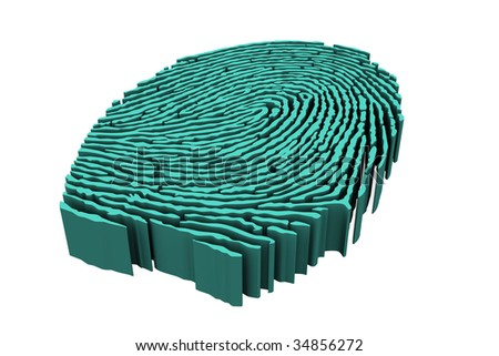 abstract 3d fingerprint, person identity, crime solved, bad guy, jail time, police investigation, forensic science icon, abstract forensic investigation, crime trial