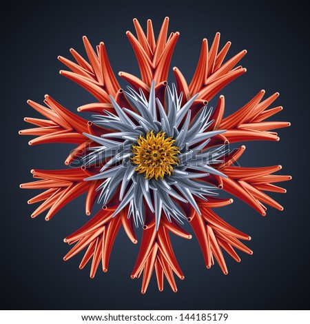 abstract 3d flower isolated object - stock photo