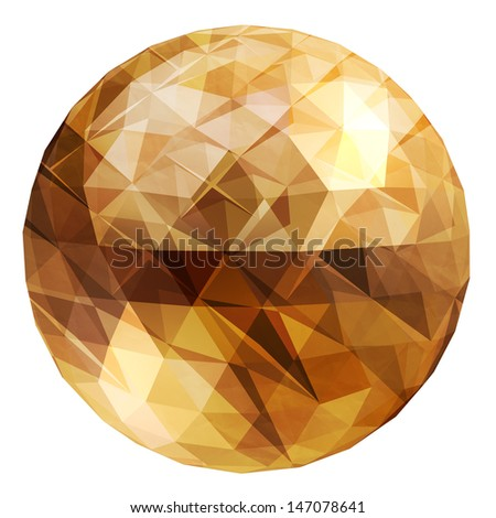 Abstract 3D geometric illustration. Disco ball Isolated over white. - stock photo