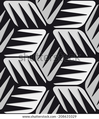 Abstract 3d geometrical seamless background. Gray 3d cubes striped with black. - stock photo