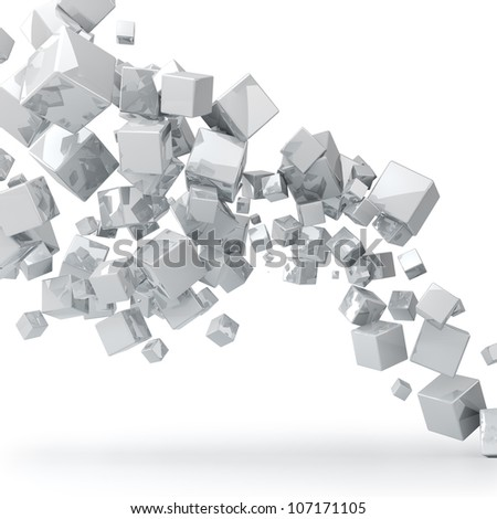 Abstract 3D glossy white cubes background. - stock photo