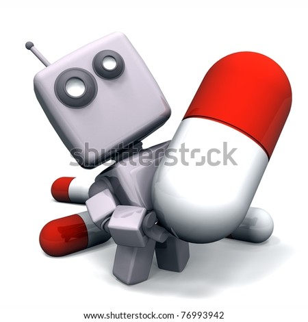 Abstract 3D Gray Robot with Medicine Pill isolated on white background - stock photo