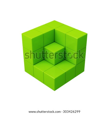 Abstract 3d green cubes illustration. Isolated on white