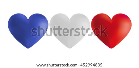 Abstract 3d heart shape in blue white red colors. Romantic dimensional hearts isolated on white background for love concept wedding business cards, valentines gift paper, book covers, dating app - stock photo